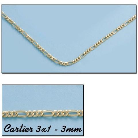 CADENA ORO CARTIER 3X1 HUECO 3MM - 40cm