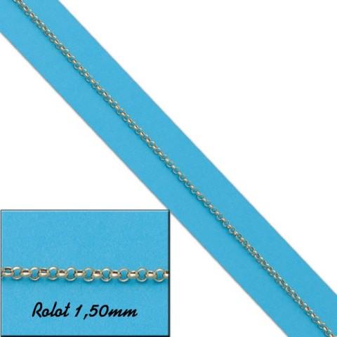 CADENA HUECA ROLOT 1.50MM ORO - 50cm