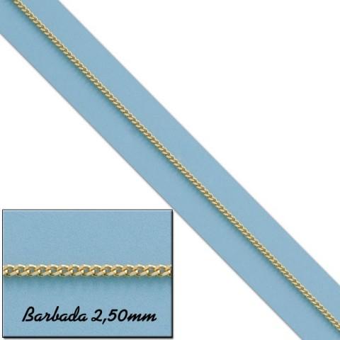CADENA BARBADA MACIZA ORO 2,5MM - 60cm