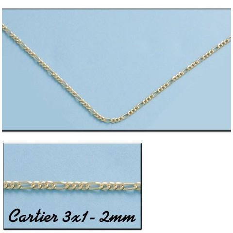 CADENA ORO CARTIER 3X1 HUECO 2MM - 60cm
