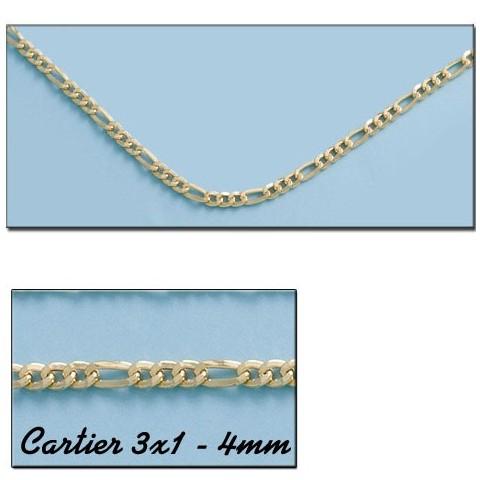 CADENA ORO CARTIER 3X1 HUECO 4MM - 60cm