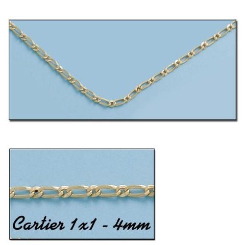 CADENA ORO CARTIER 1X1 HUECO 4MM - 60cm