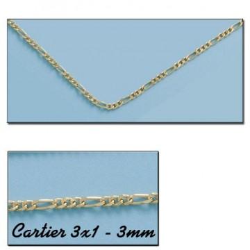 CADENA ORO CARTIER 3X1 HUECA 3MM - 60cm