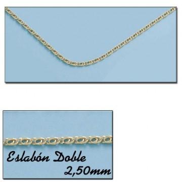 CADENA HUECA ORO ESLABON DOBLE 2.50MM - 60cm
